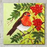 Red Berry Robin Decorative Ceramic Tile by Judith Yates
