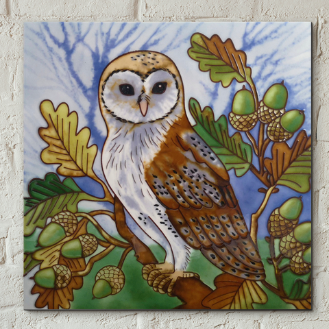 Owl in Oak Tree Decorative Ceramic Tile by Judith Yates
