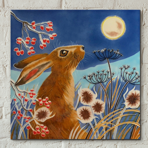 Frost Moon Hare Decorative Ceramic Tile by Judith Yates