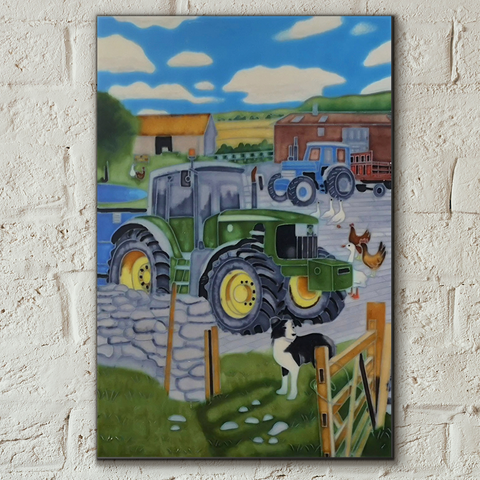 John Deere Tractor on the Farm Decorative Ceramic Tile