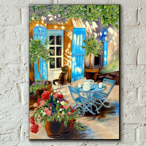 Courtyard Cat Decorative Ceramic Tile by Judith Yates - Prezents.com