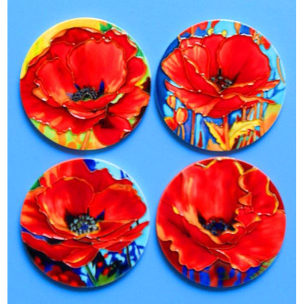 Set of 4 Poppy Ceramic Coasters by Simon Bull