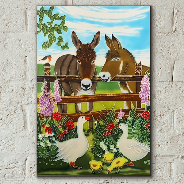 Donkeys, Ducks & Chicks Decorative Ceramic Tile