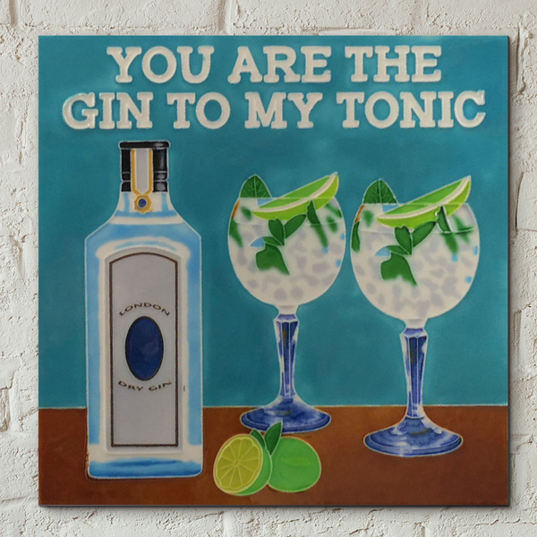 Gin to My Tonic Decorative Ceramic Tile 8x8""