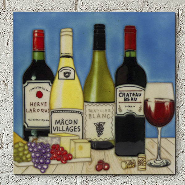 Cheese & Wine Selection Decorative Ceramic Tile - Prezents.com