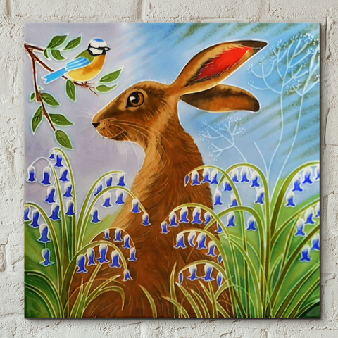 Hare & Bluebells Decorative Ceramic Tile by Judith Yates
