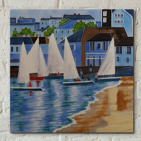 Sailboats at Sea Decorative Ceramic Tile by Judith Yates