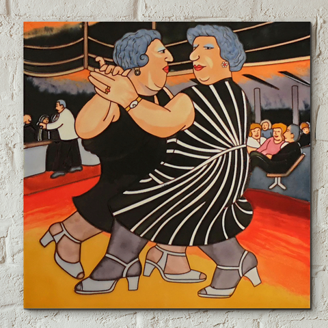 Dancing on the QE2 Decorative Ceramic Tile by Beryl Cook