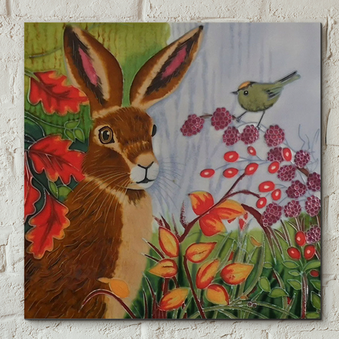 Autumn Berry Hare By Judith Yates- 8x8 inches
