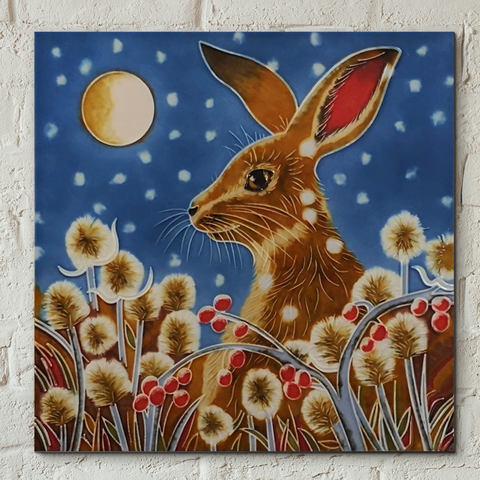 Autumn Frost Hare Decorative Ceramic Tile By Judith Yates 8x8 inches