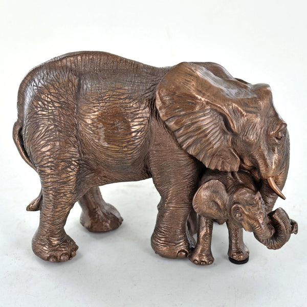 Mother and Baby Elephant Cold Cast Bronze Sculpture