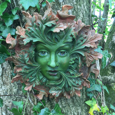 Green Spirit Greenman Garden Wall Art by David Lawrence - Prezents