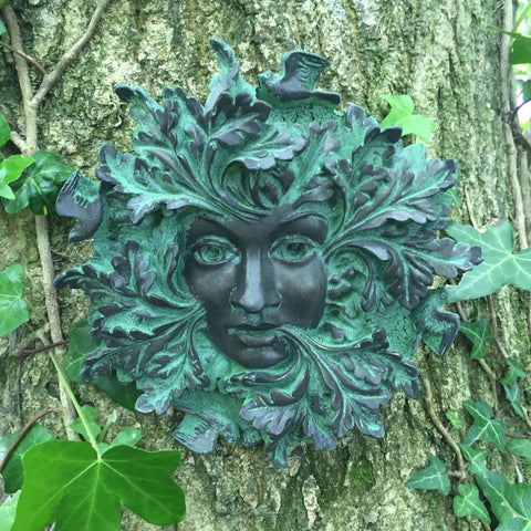 Green Spirit Verdigree Greenman Garden Wall Art by David Lawrence - Prezents.com