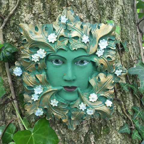 Green Flora Greenman Garden Wall Art by David Lawrence - Prezents.com