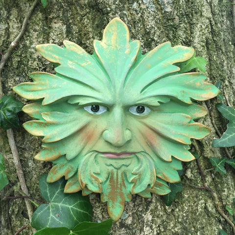 Green Fustian Greenman Garden Wall Art by David Lawrence - Prezents  - 1