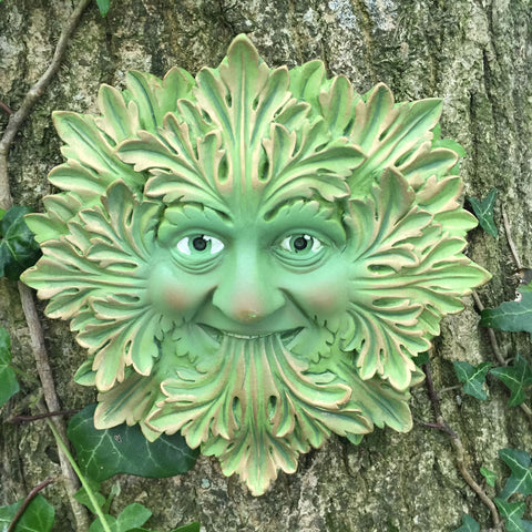 Green Foliate Greenman Garden Wall Art by David Lawrence - Prezents.com