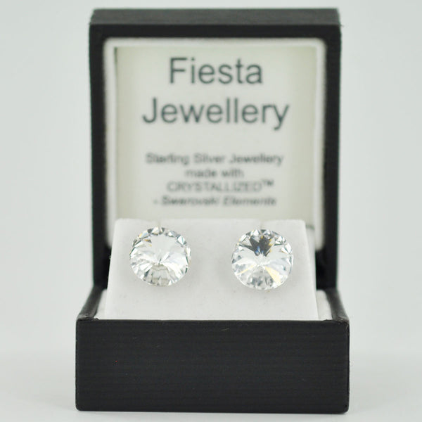 Sterling Silver 10mm Crystal Stud Earrings - Ten Colours - Prezents.com