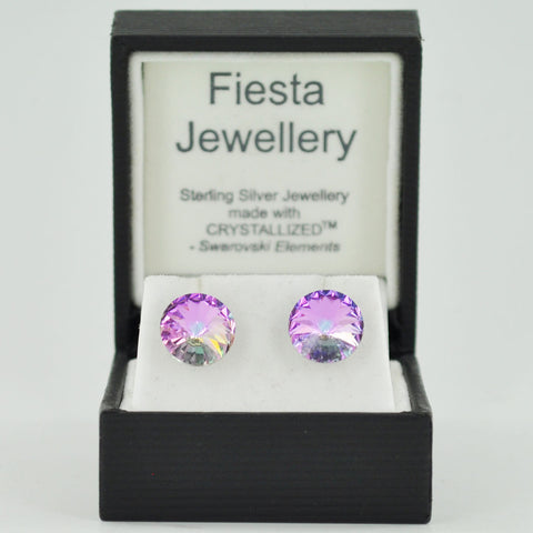 Sterling Silver 10mm Crystal Stud Earrings - Ten Colours - Prezents  - 1