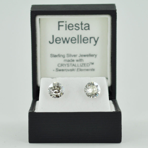 Sterling Silver 8mm Faceted Crystal Stud Earrings - Prezents.com