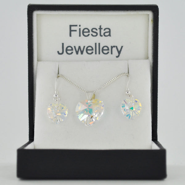 Sterling Silver Crystal Heart Earrings & Necklace Set - 12 Colours - Prezents.com