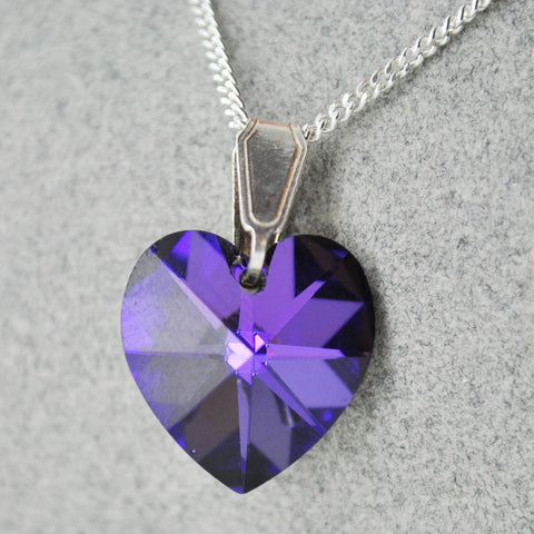 Sterling Silver 14mm Crystal Heart Necklace - 12 Colours - Prezents.com