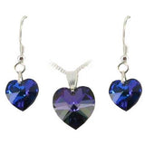 Sterling Silver Crystal Heart Earrings & Necklace Set - 12 Colours - Prezents  - 10