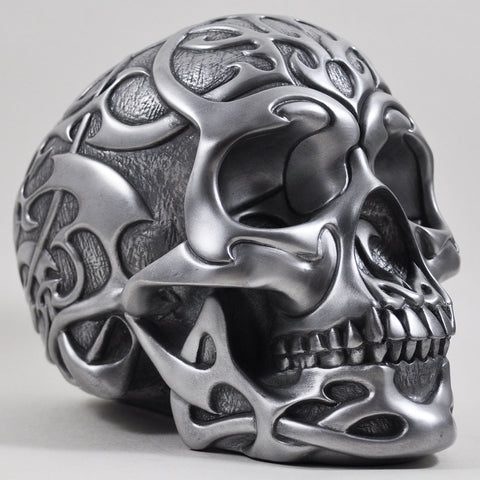 Silver Tribal Skull - Cold Cast Bronze