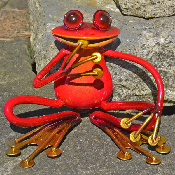 Pink Sitting Frog Metal Sculpture - Prezents.com