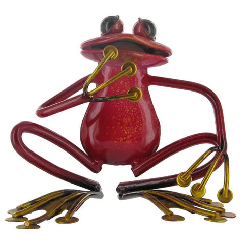 Pink Sitting Frog Metal Sculpture