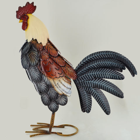Dark Colours Rooster Metal Sculpture - Prezents.com