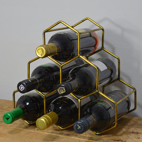 Hexagonal 6 Bottle Metal Wine Rack - Prezents.com