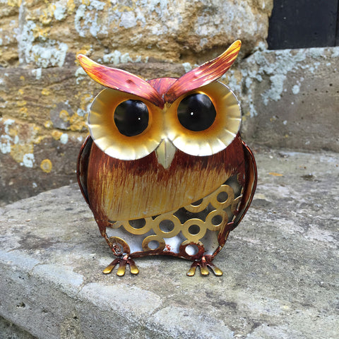 Golden Brown Baby Owl Metal Sculpture - Prezents.com