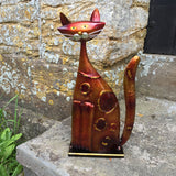 Orange and Gold Metal Cat Sculpture - Prezents.com