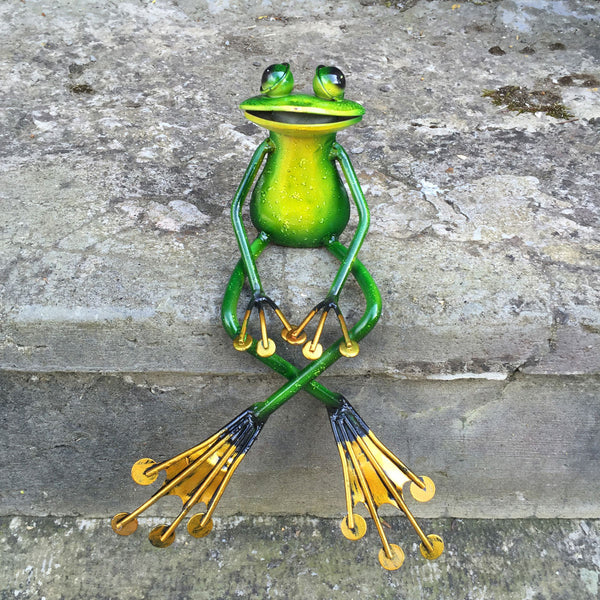 Shelf Sitting Green Frog Metal Sculpture - Prezents