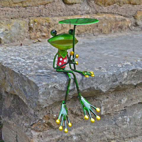 Green Frog With Leaf Umbrella - Prezents.com