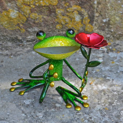 Green Frog Holding A Rose - Prezents.com