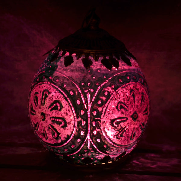 Moroccan Style Pink & Blue Glass LED Lantern - Prezents.com