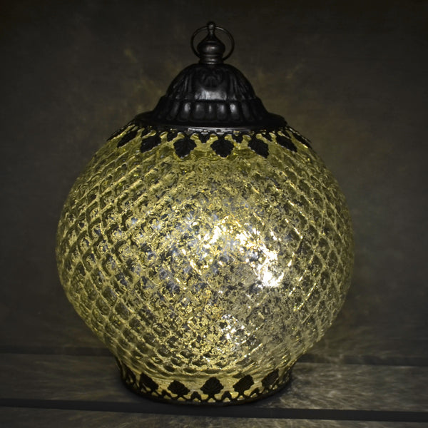 Moroccan Style Silver Patterned Glass LED Lantern - Prezents.com