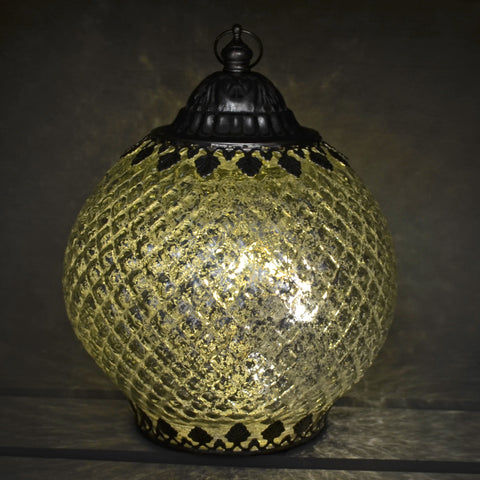 Moroccan Style Silver Patterned Glass LED Lantern