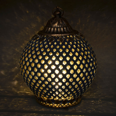Moroccan Style Navy Patterned Glass LED Lantern