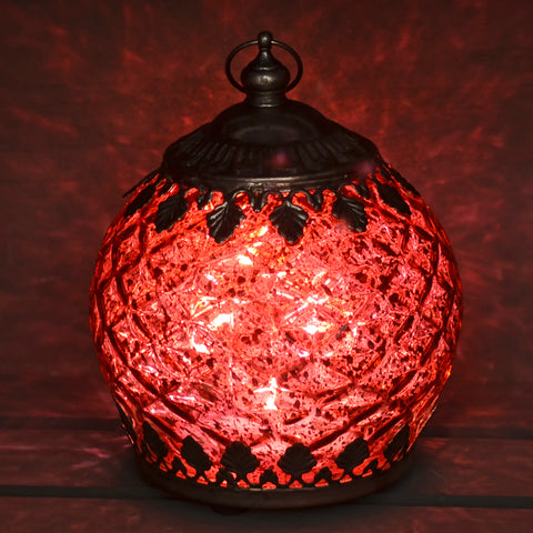 Moroccan Style Mini Red Patterned Glass LED Lantern