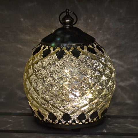 Moroccan Style Mini Silver Patterned Glass LED Lantern
