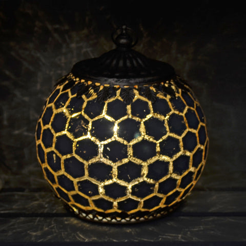Moroccan Style Grey Geometric Patterned Glass LED Lantern