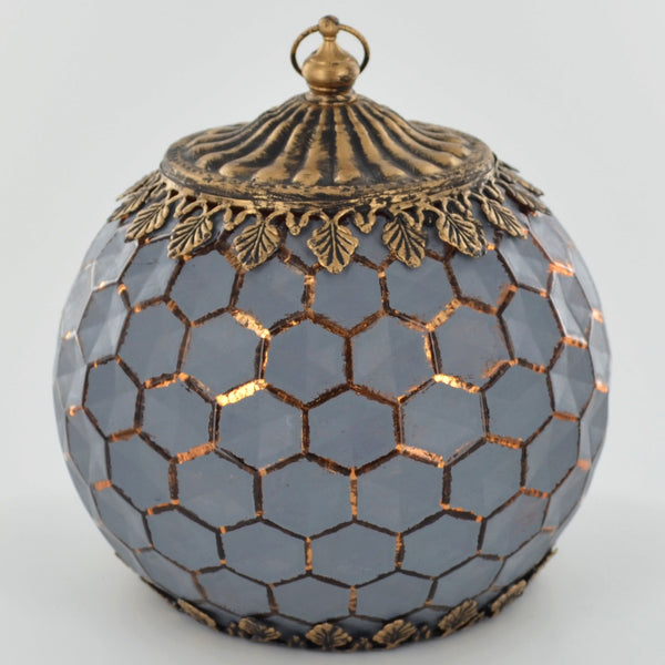 Moroccan Style Grey Geometric Patterned Glass LED Lantern - Prezents.com