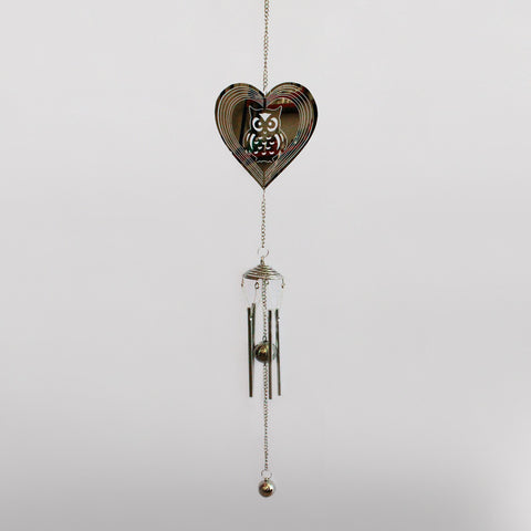Owl in Heart Suncatcher & Wind Chime - Prezents.com