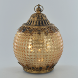Moroccan Style Gold Glass LED Lantern