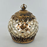Moroccan Style Mini Gold Patterned Glass LED Lantern