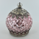 Moroccan Style Mini Champagne Patterned Glass LED Lantern