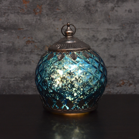 Moroccan Style Mini Blue Patterned Glass LED Lantern