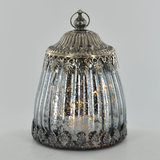 Moroccan Style Silver Glass LED Lantern